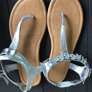 Other - Silver Sandals with personalized MAGGIE